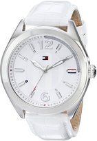 Tommy Hilfiger Women's 1781364 Casual Sport and Silver Dial Croco-Embossed Leather Strap Watch