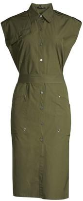 Derek Lam Organic Cotton Poplin Belted Utilitarian Dress