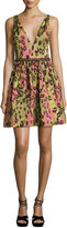 Marchesa Sleeveless Animal Jacquard Cocktail Dress, Green