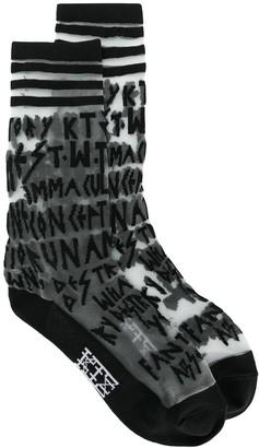 Kokon To Zai Multi-Letter Embroidered Sheer Socks