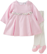 Absorba Pink A-Line Dress & Tights - Infant
