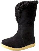 ENMAYER Women's Closed Round Toe Nubuck Flat Solid Boots 8.5 B(M) US