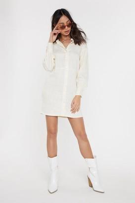 Nasty Gal Womens Don't Shirt My Feelings High-Low Shirt Dress - Cream