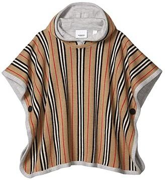 Burberry Reversible Icon Stripe Merino Wool Hooded Poncho (Big Kids) (Archive Beige) Kid's Clothing