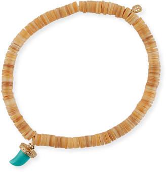 Sydney Evan 5mm Heishi Beaded Bracelet w/ Turquoise & Diamond Horn Charm