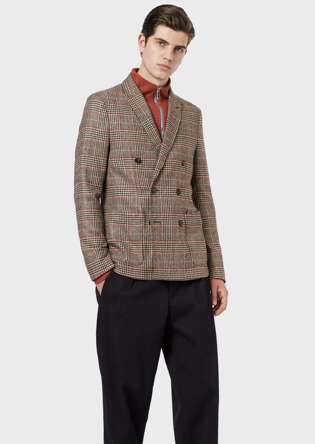 f1c47a7060 Double-Breasted Jacket In Prince Of Wales Wool Blend