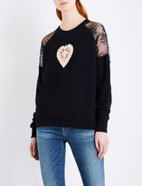 The Kooples Heart-embroidered cotton-jersey sweatshirt