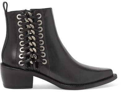 Alexander McQueen Whipstitched Leather Ankle Boots - Black