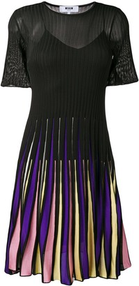 MSGM ribbed knit pleated skirt dress