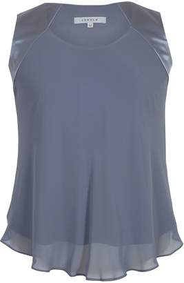 Chesca Jersey Lined Chiffon Cami, Steel