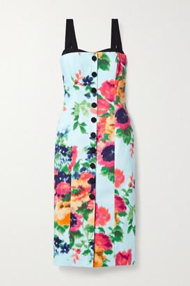 Carolina Herrera Grosgrain And Faille-trimmed Floral-print Cotton-blend Midi Dress - Sky blue