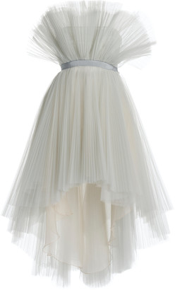 Giambattista Valli PlissA Tulle High-Low Strapless Mini Dress