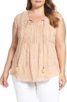 Daniel Rainn Plus Size Women's Embroidered Cap Sleeve Top