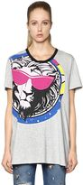 Versus Lion Print Oversized Cotton T-Shirt