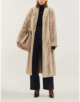 Max Mara S Piroga notch-lapel collar faux-fur coat