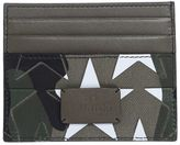 Valentino Garavani Green Leather And Canvas With Stars Camouflage Cards Holderb