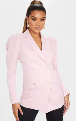 PrettyLittleThing Pink Puff Sleeve Pearl Button Fitted Blazer