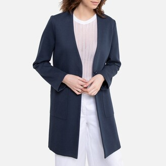 La Redoute Collections Cotton Mix Collarless Coat