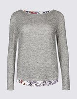 Per Una Textured Slash Neck Long Sleeve Top