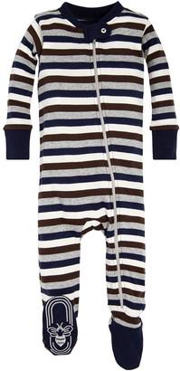 Burt's Bees Baby Baby Boys' Organic Stripe Zip Front Non-Slip Footed Sleeper Pajamas
