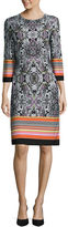 Ronni Nicole RN Studio by 3/4-Sleeve Paisley Medallion Shift Dress