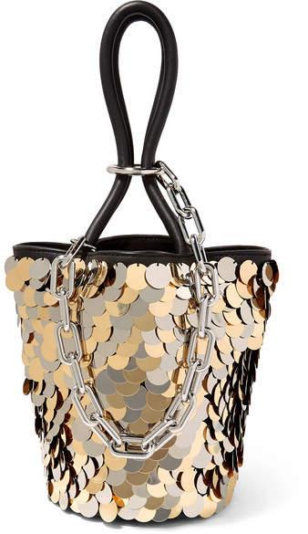 Alexander Wang Roxy Mini Paillette-embellished Leather Bucket Bag - Gold