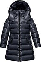 Moncler Moka Hooded Puffer Coat, Navy, Size 4-6
