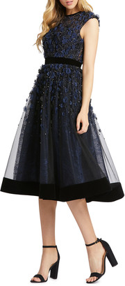 Mac Duggal Floral Applique Tea-Length Velvet-Trim Dress