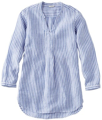 L.L. Bean L.L.Bean Women's Premium Washable Linen Shirt, Splitneck Tunic Long-Sleeve Stripe