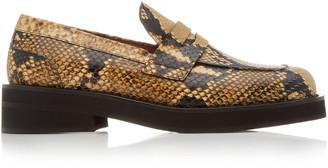 Marni Women's Python-Effect Leather Loafers - Yellow - Moda Operandi