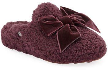 21f5b692964 Addison Velvet-Bow Curly Sheepskin Slippers