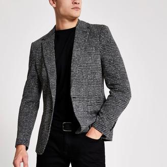 River Island Mens Grey check skinny fit blazer