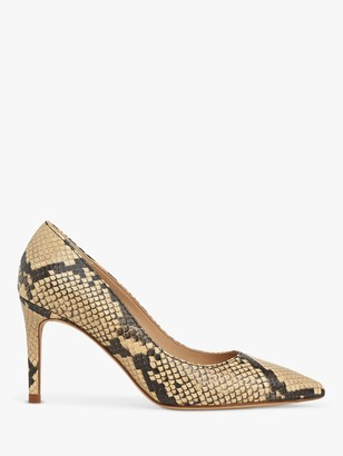 LK Bennett Floret Pointed Leather Court Shoes, Yellow