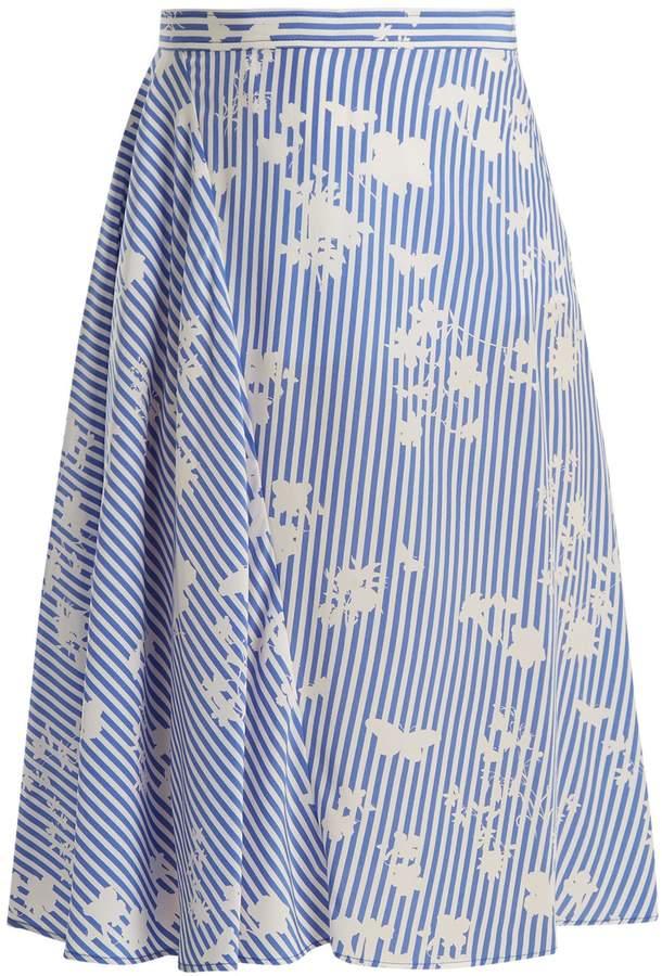 Altuzarra Sundew stripe-print fluted silk skirt