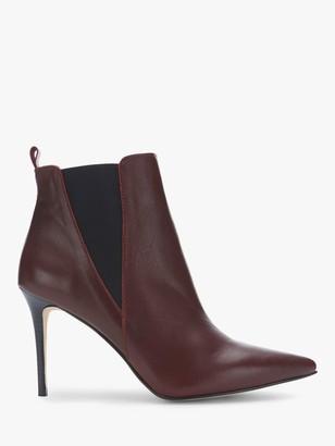 Mint Velvet Riley Stiletto Heel Ankle Boots, Dark Red