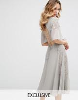 Maya Embellished Midi Dress with Fluted Sleeve with Lace Up Back