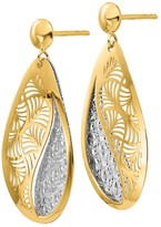 Italian Gold Two-Tone Oval Disc Dangle Earrings, 14K Gold