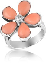 Del Gatto Diamond and Pink Coral Flower 18K Gold Ring