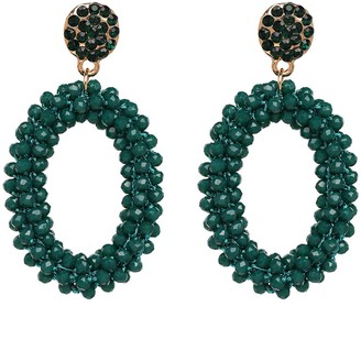 Goodnight Macaroon 'Natalie' Oval Beaded Drop Earrings (7 Colors)