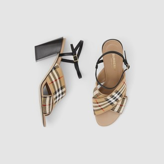 Burberry Latticed Cotton and Leather Block-heel Sandals