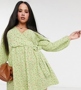 ASOS DESIGN Curve smock oversized mini wrap dress in green ditsy floral