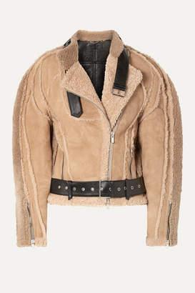BEIGE Peter Do - Leather-trimmed Shearling Biker Jacket