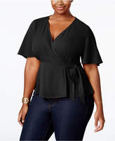 Monteau Trendy Plus Size Faux-Wrap Blouse