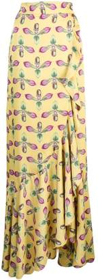 PatBO printed maxi wrap skirt