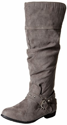 Rampage Women's Beeded Round Toe Studded Strap Knee High Boot