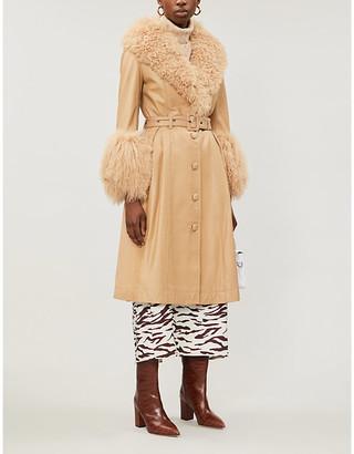 Saks Potts Foxy faux-fur-trimmed leather coat