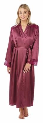 Indigo Sky Ladies Charmeuse Long Wrap Satin Dressing Gown-Grape 10/12