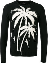 No.21 frayed palm jumper - men - Cotton - S