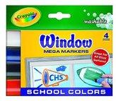 Crayola Window Mega Markers set of 4 school colors [PACK OF 4 ]