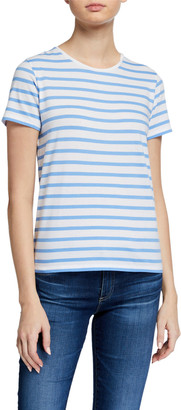 Majestic Filatures Striped Crewneck Short-Sleeve Silk Touch Cotton Tee